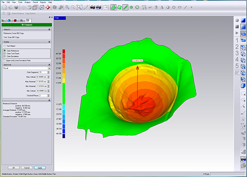 Deviation analysis using Geomagic Control 3D inspection software