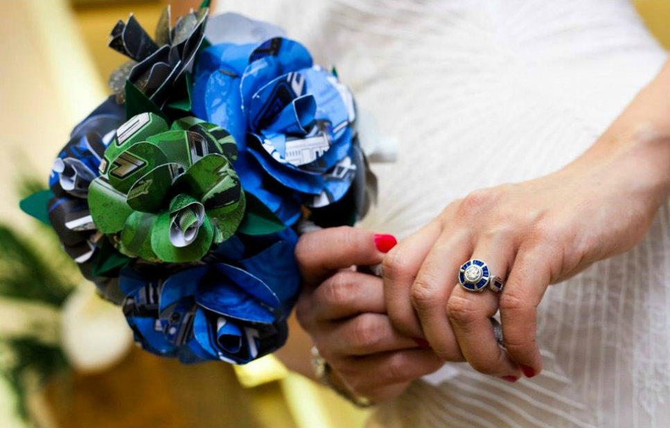 Uptown Diamond R2 D2 Ring on the Bride