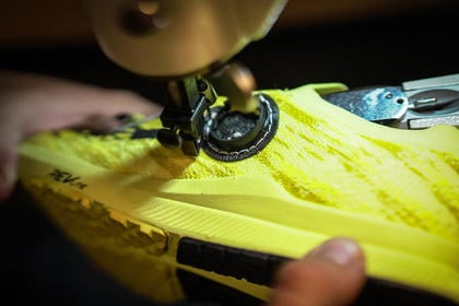 Figure 4 prototype for BOA Fit System being stitched on shoe