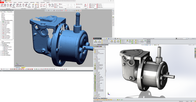 Geomagic Design X scan processing from point cloud to Solidworks CAD model