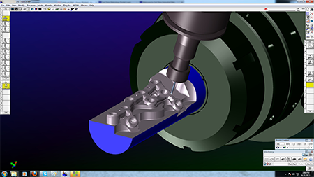 For highly complex parts, TraTek uses GibbsCAM Machine Simulation,