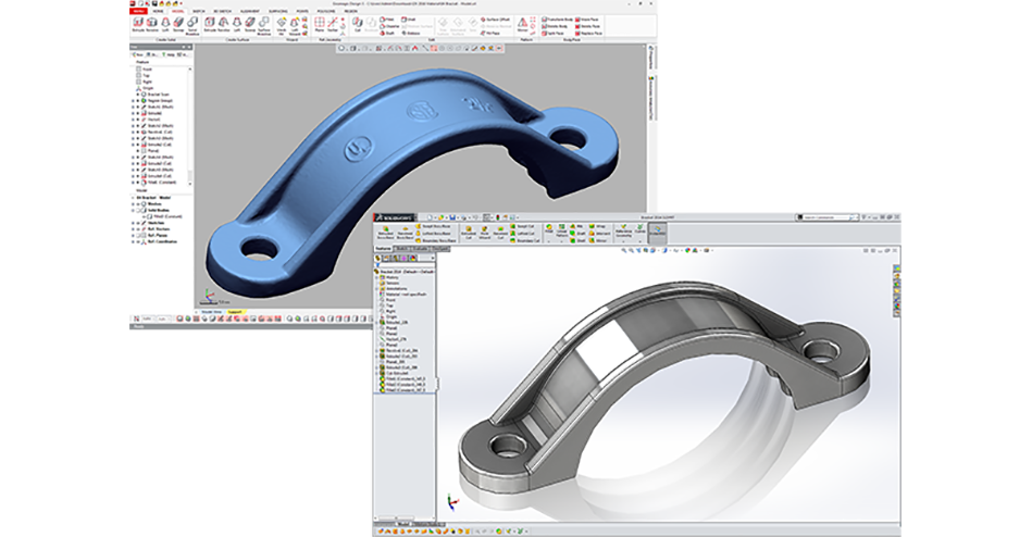 Converting a 3d mesh into a Solidworks solid model with Design X