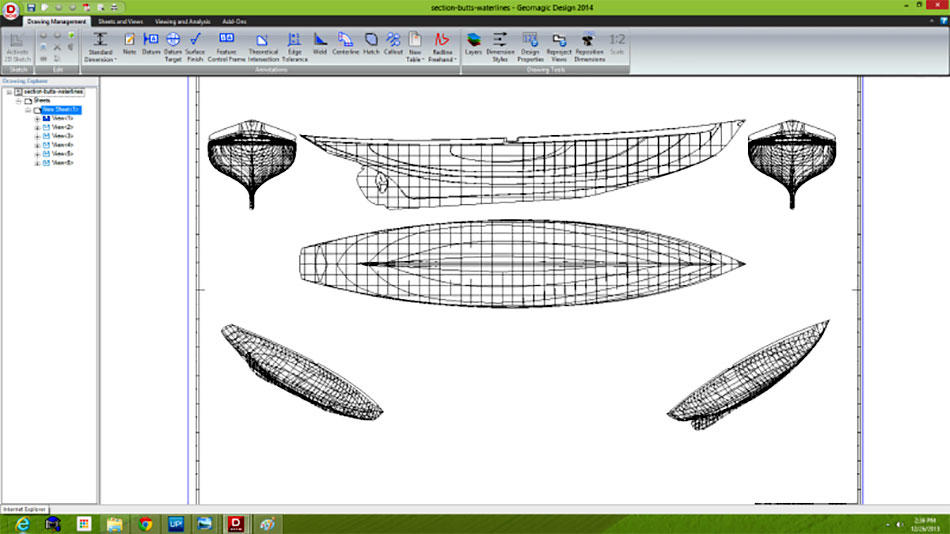 Finished blue prints accurately showing the hull shapes from Geomagic Design X