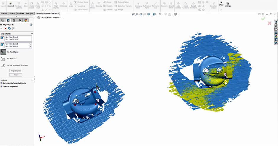 Industry-leading Geomagic Scan processing tools directly inside SOLIDWORKS