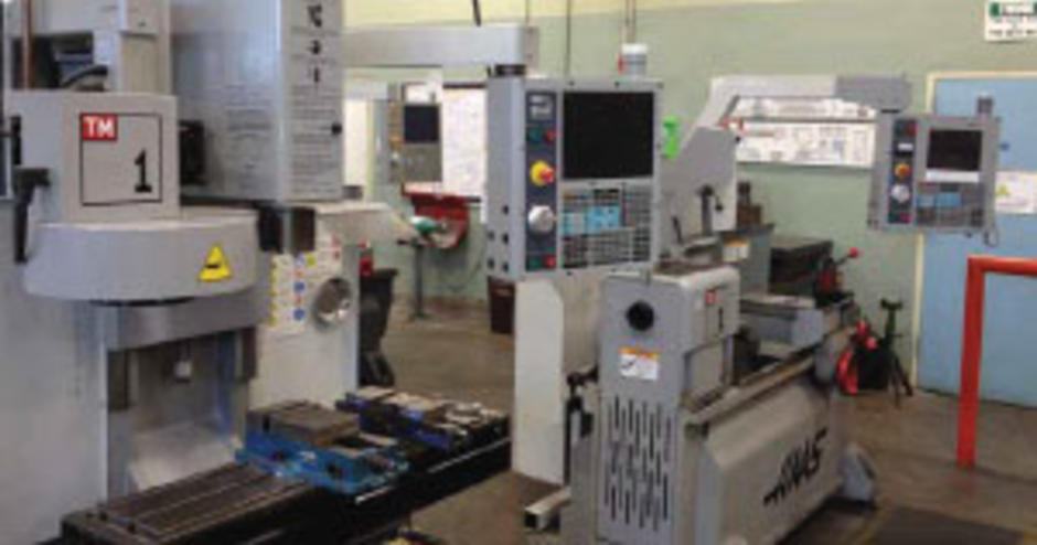 In addition to manual machines, the shop has 14 CNC machines, mostly industrial Haas and Fadal machines, from 2-axis lathes to 4- and 5-axis machining centers.